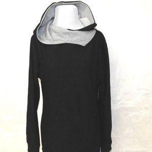 Womens Sweatshirt Hoodie Black Pullover Size M